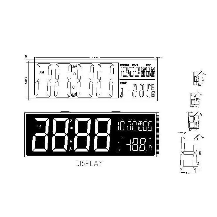 Pin Connector HTN LCD Screen LCD Digit Calendar Clock Display