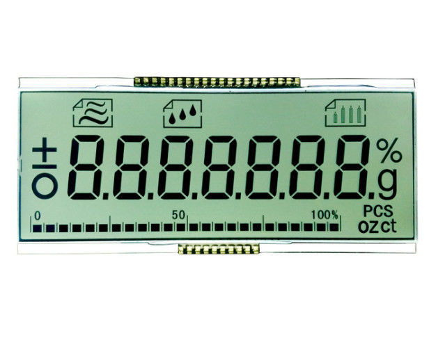 Monochrome TN LCD Display 7 Segment 4 Digit Alphanumeric With Waterproof Connector 18 Pin